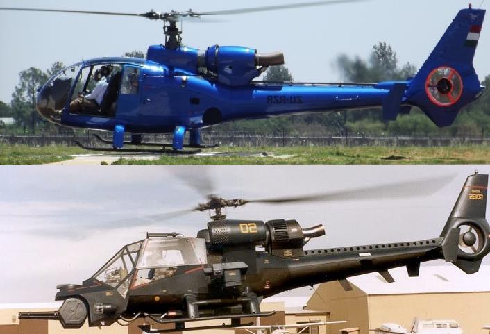 """Comparación entre un Aérospatiale SA 341 Gazelle y el """"Trueno Azul"""""""