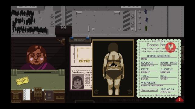 """Interfaz del juegador en """"Papers, Please"""""""