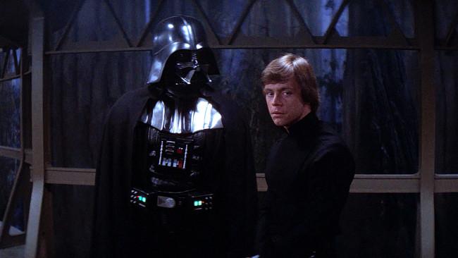 Luke y su padre, en la luna de Endor